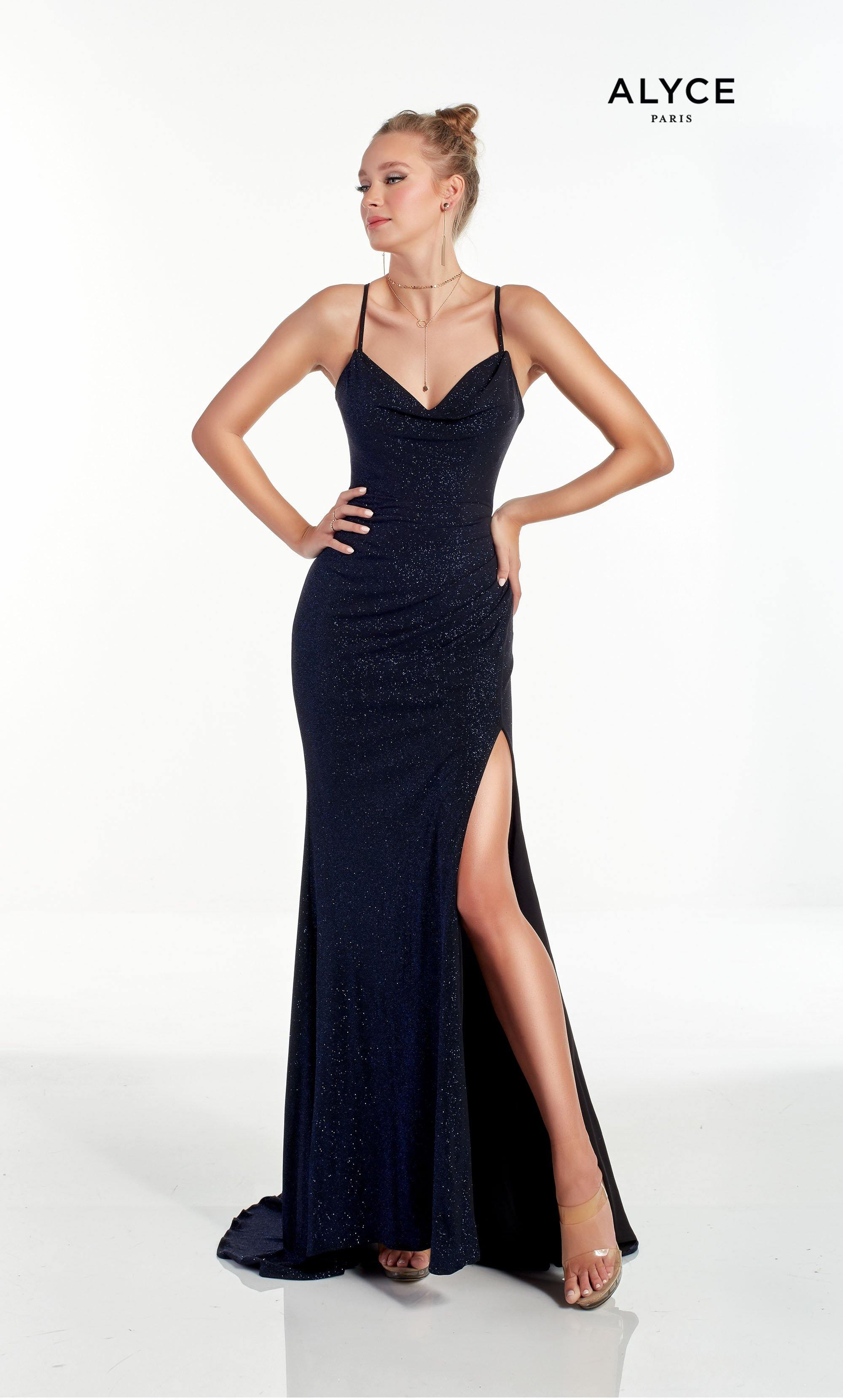 Cobalt Blue sparkle jersey evening dress with a cowl neckline and high slit