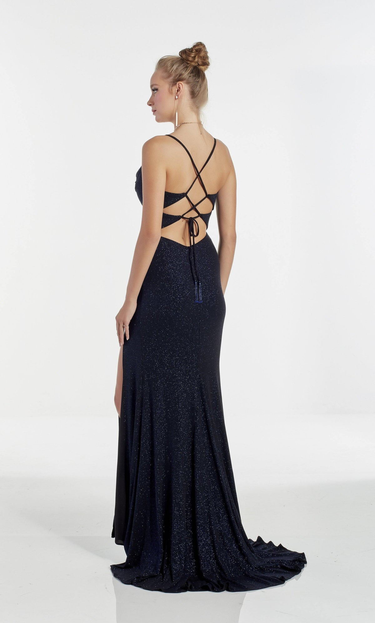 Cobalt Blue sparkle jersey evening dress with a strappy back and train