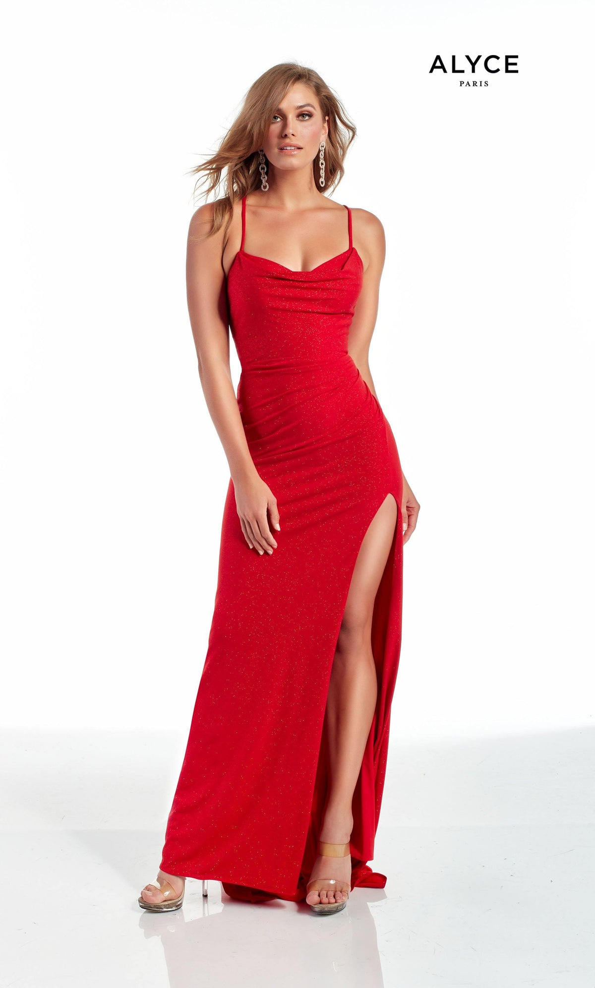 Red sparkle jersey evening dress with a cowl neckline and high slit