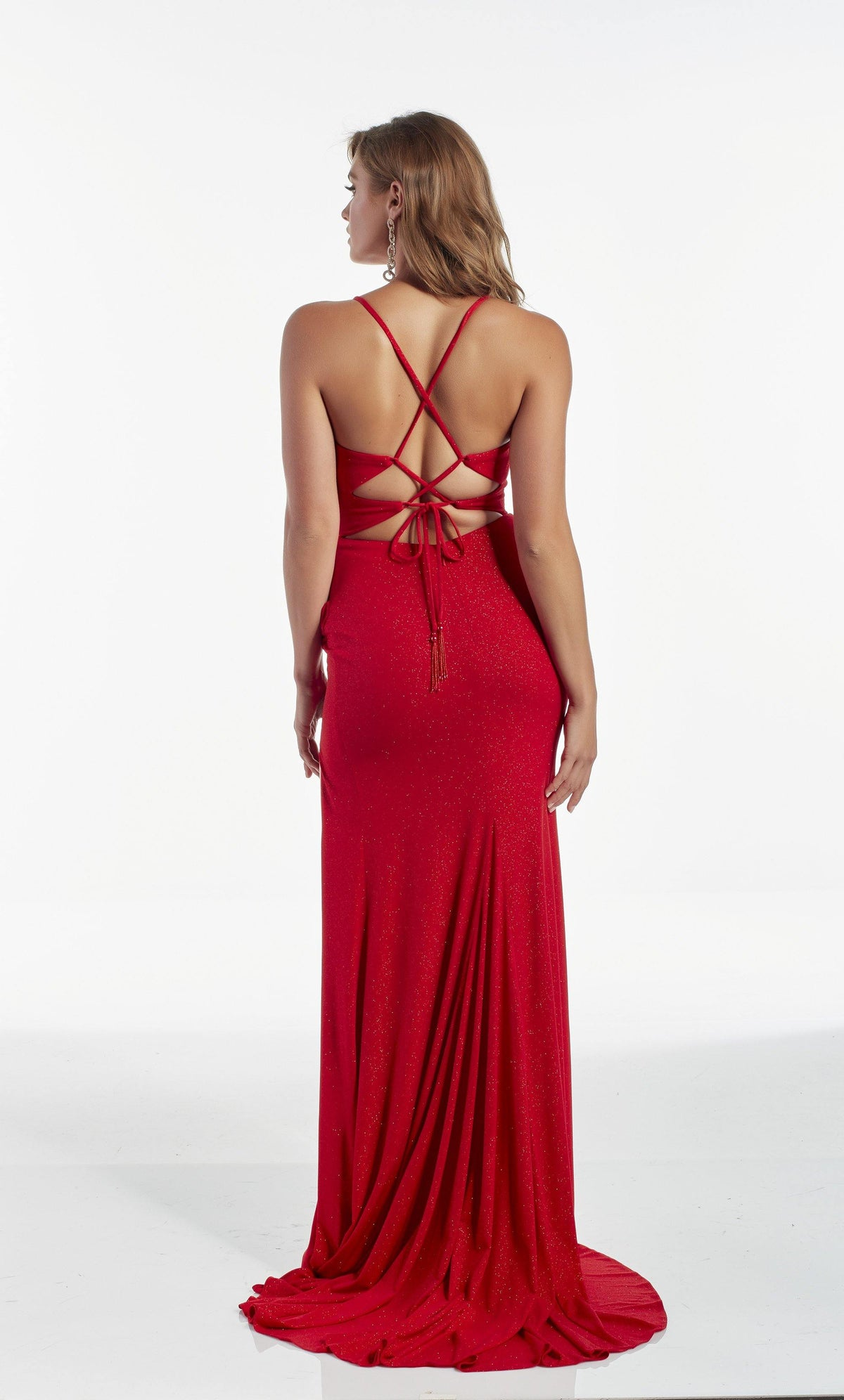 Red sparkle jersey evening dress with a strappy back and train