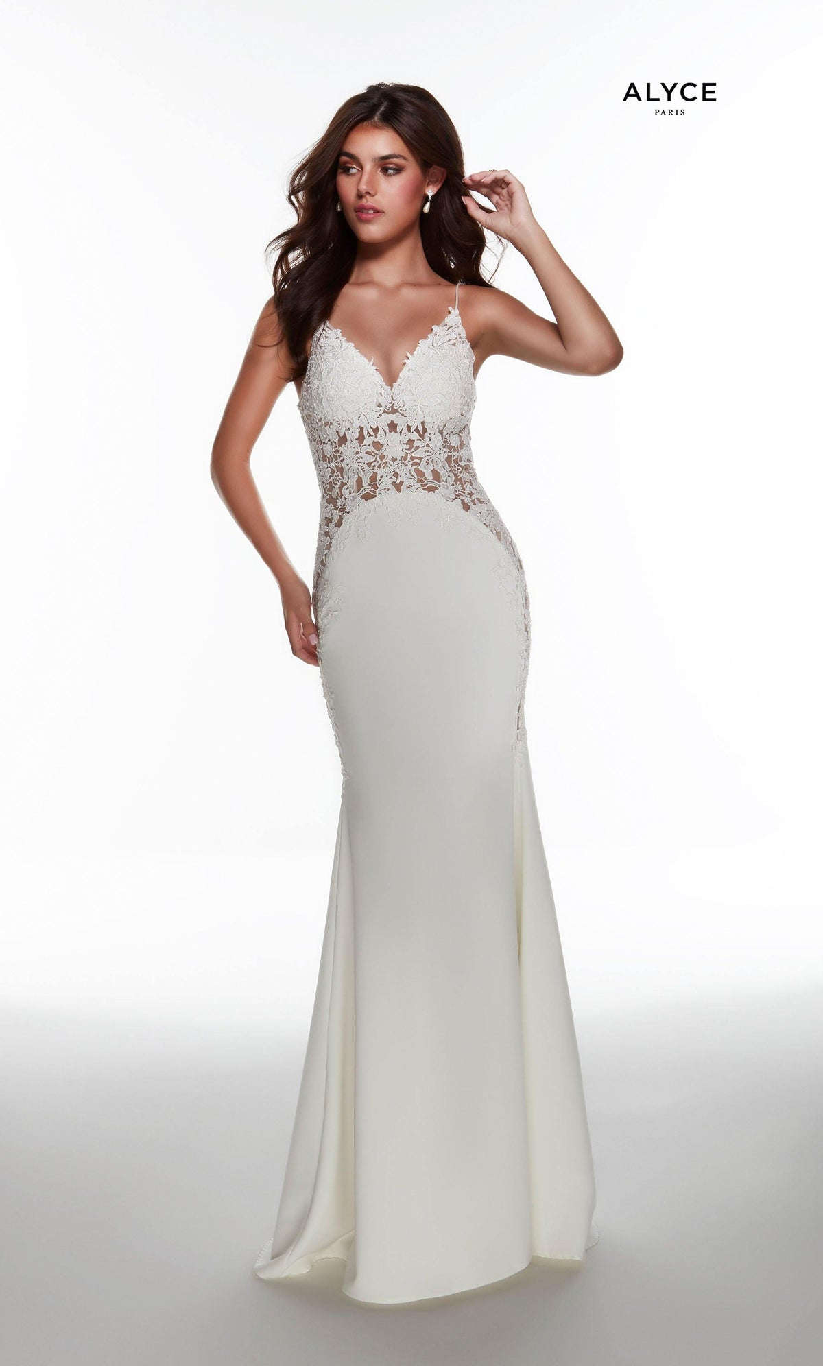 Ivory fit and flare informal bridal dress with a V neckline and sheer lace bodice