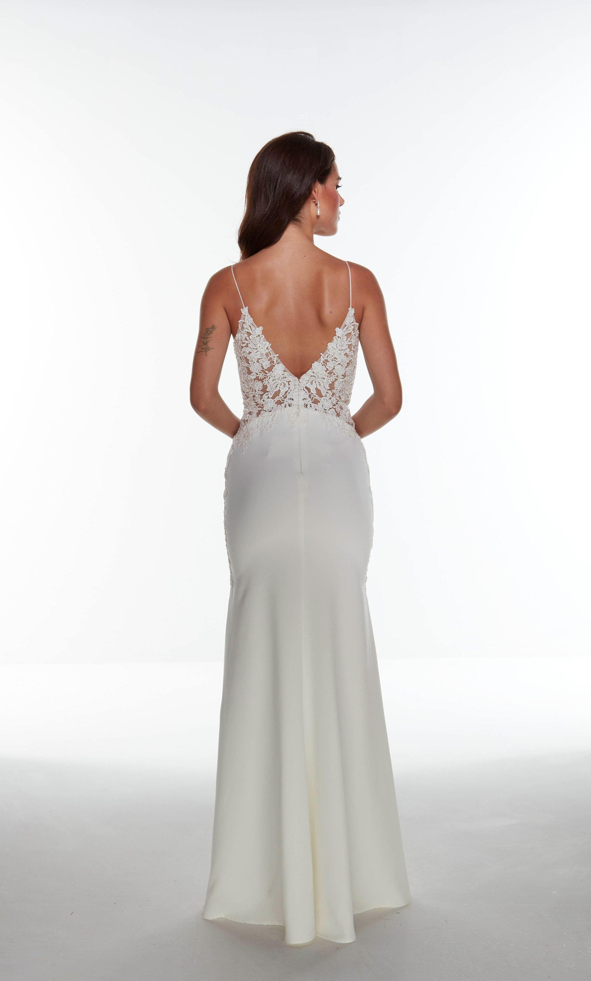Ivory fit and flare informal bridal dress with a V shaped back and train