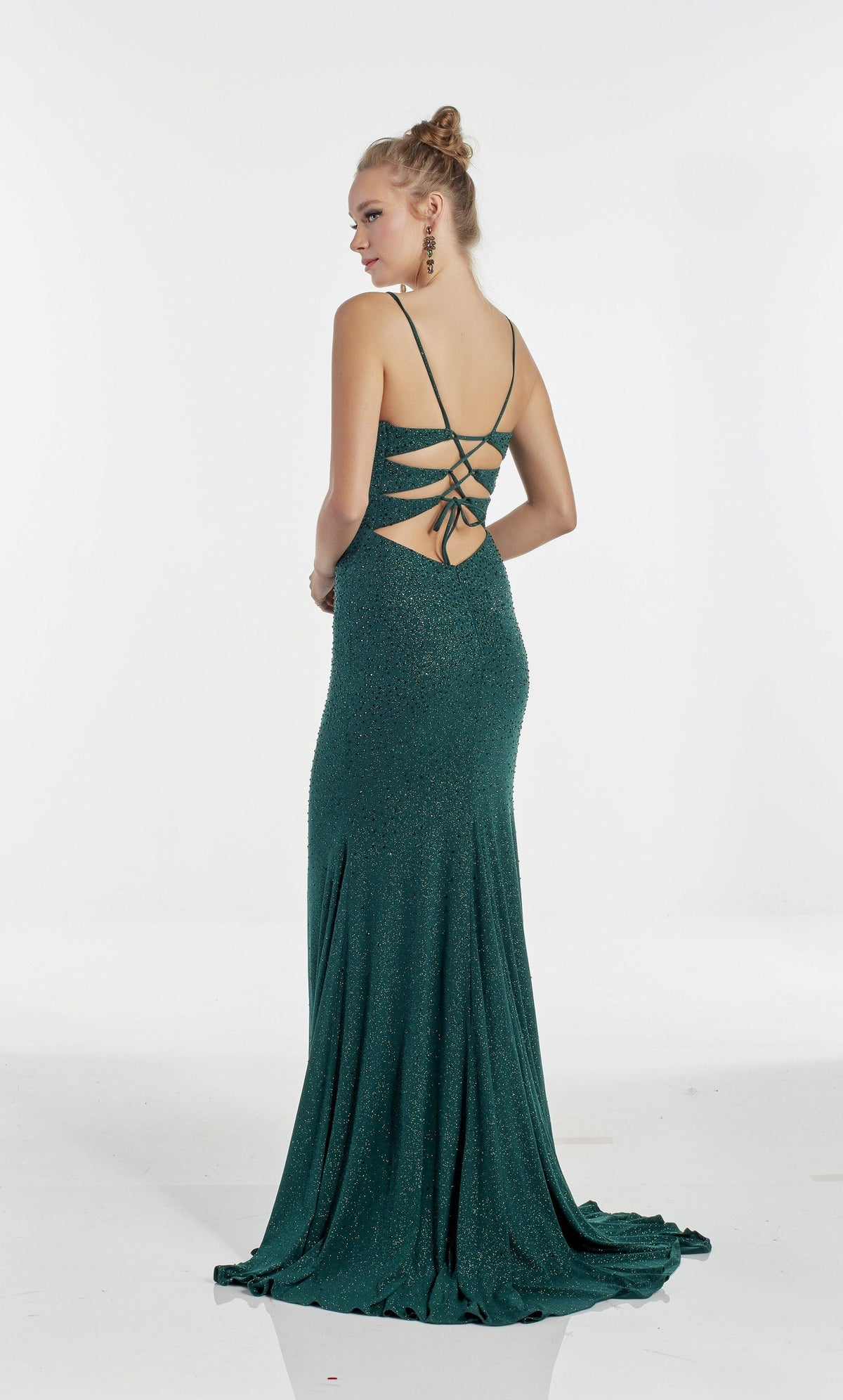Emerald Green column evening dress with a strappy back and train