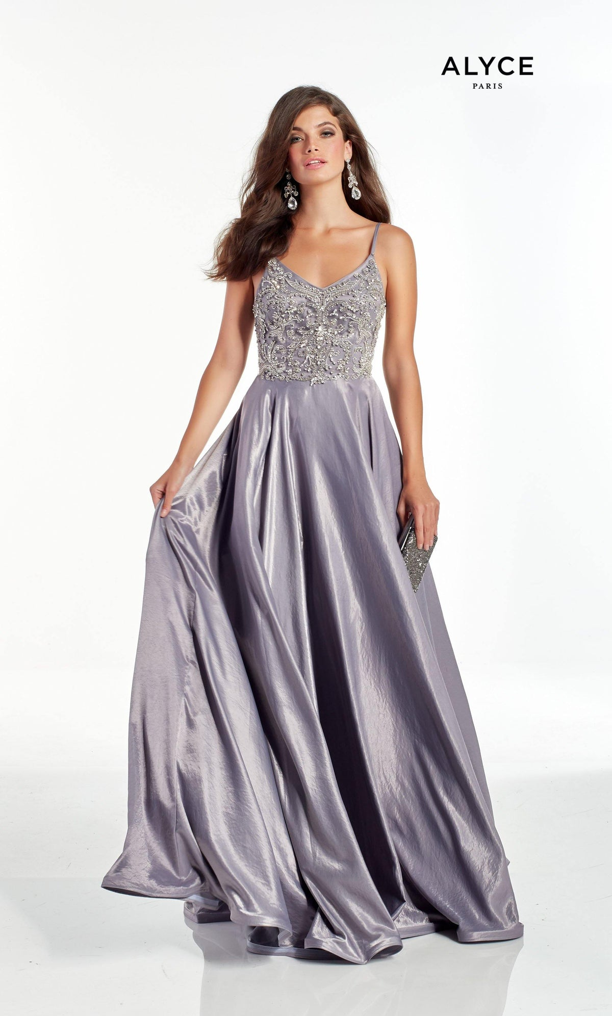 Lilac-Grey flowy prom dress with a V neckline and embellished bodice