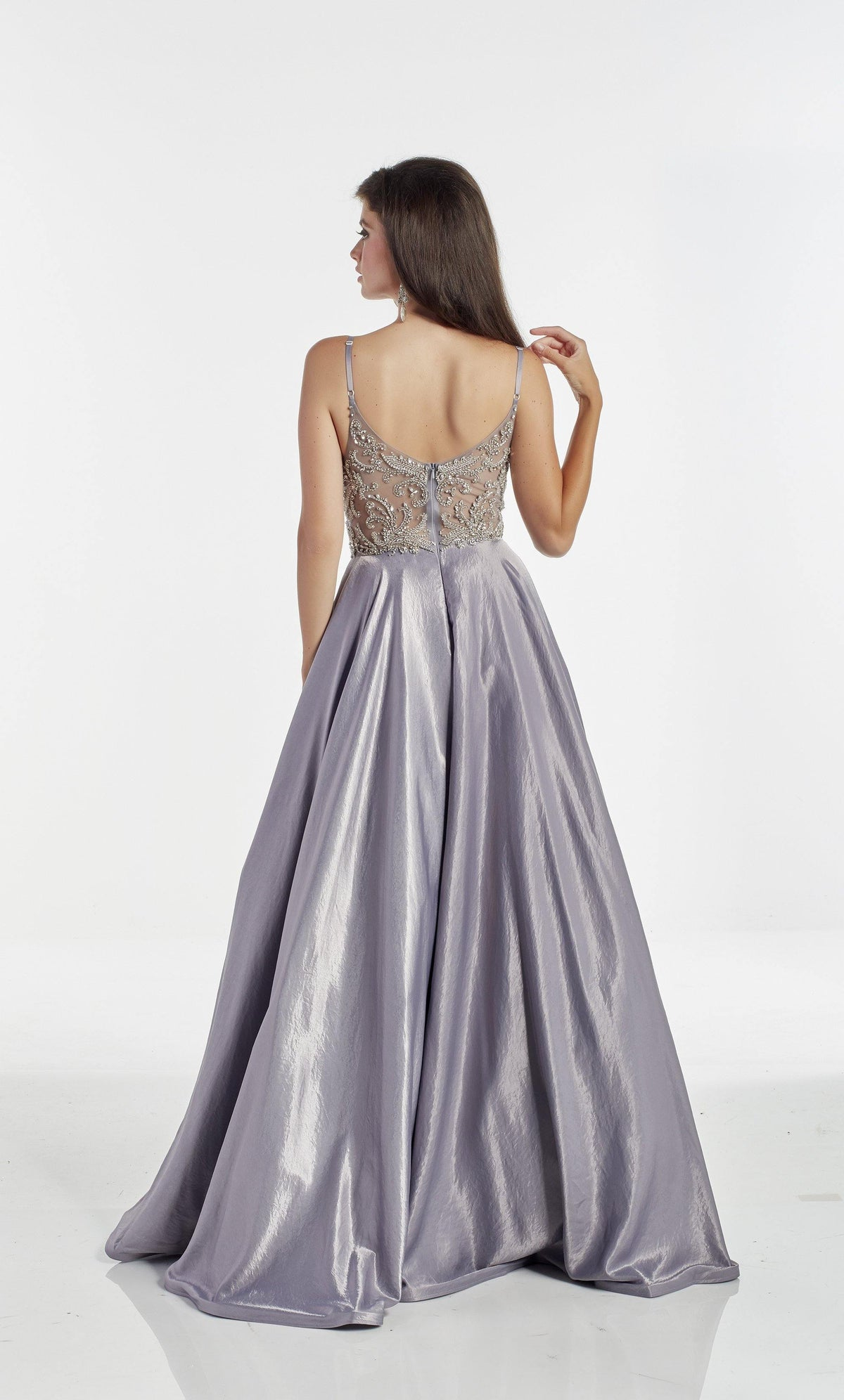 Lilac-Grey flowy prom dress with an enclosed back and embellished bodice