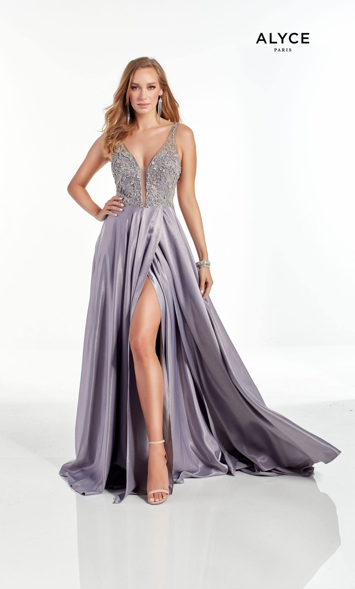 Lilac-Grey flowy prom dress with a plunging neckline, jewel embellished bodice, and front slit