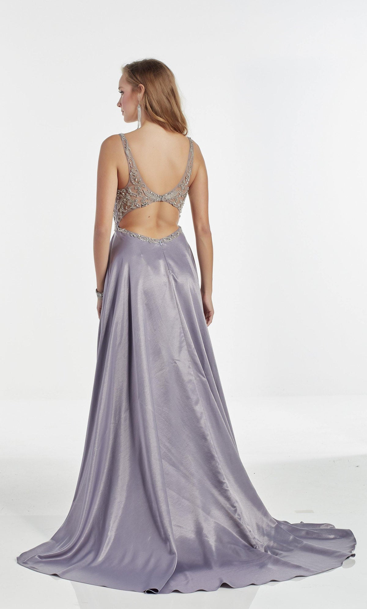Lilac-Grey flowy prom dress with a keyhole back and train
