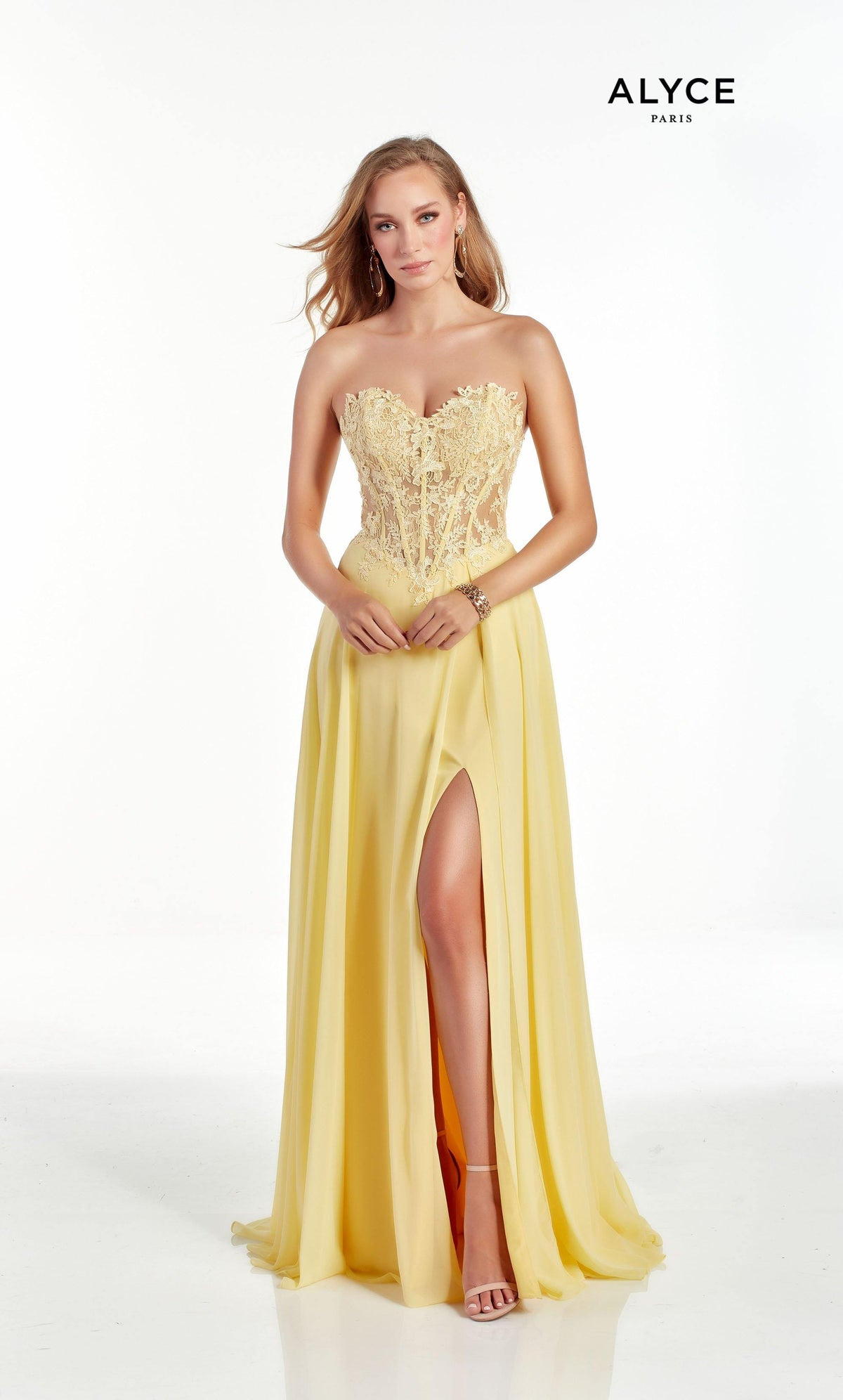 Light Yellow strapless bridesmaid dress with a lace corset bodice with a front slit