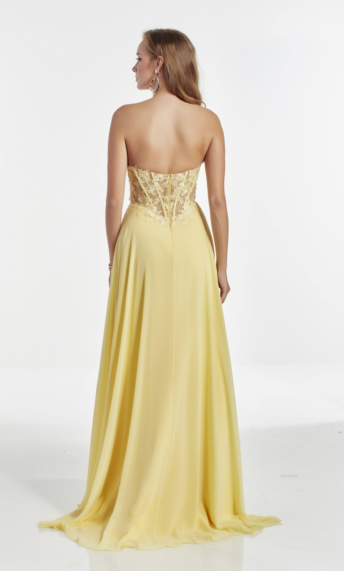 Light Yellow strapless bridesmaid dress with a lace corset bodice with an enclosed back and train
