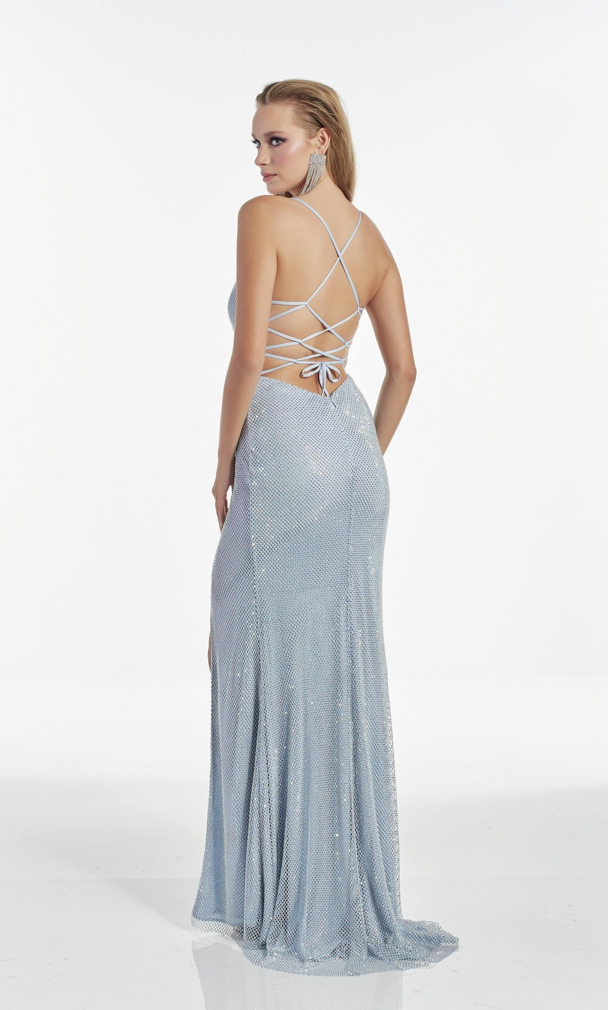 Light Blue crystal mesh column prom dress with a strappy back and train