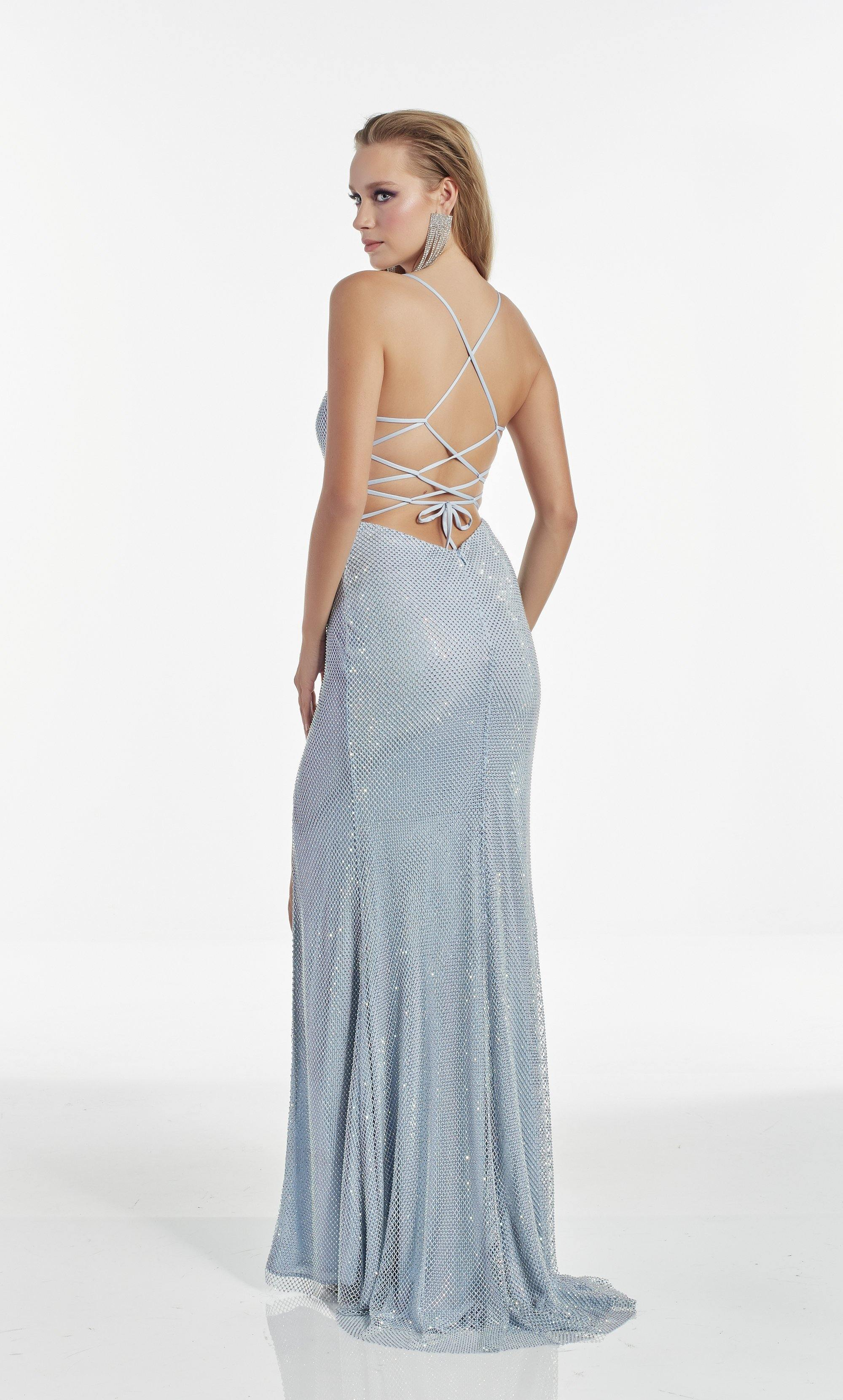 Light Blue crystal mesh column prom dress with a scoop neckline and high slit