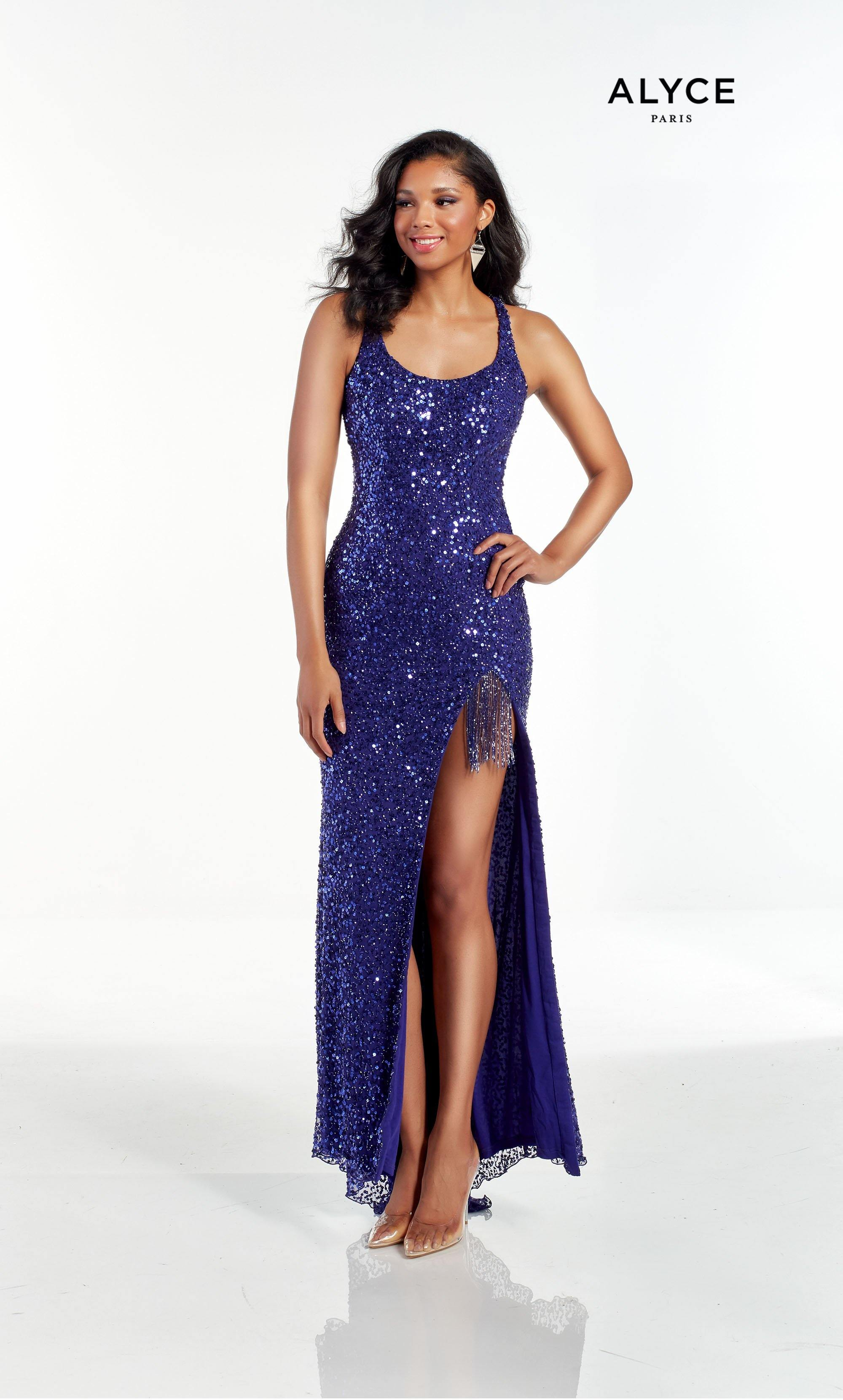 Cobalt Blue hand beaded prom dress with a scoop neck, high slit, and beaded fringe accent