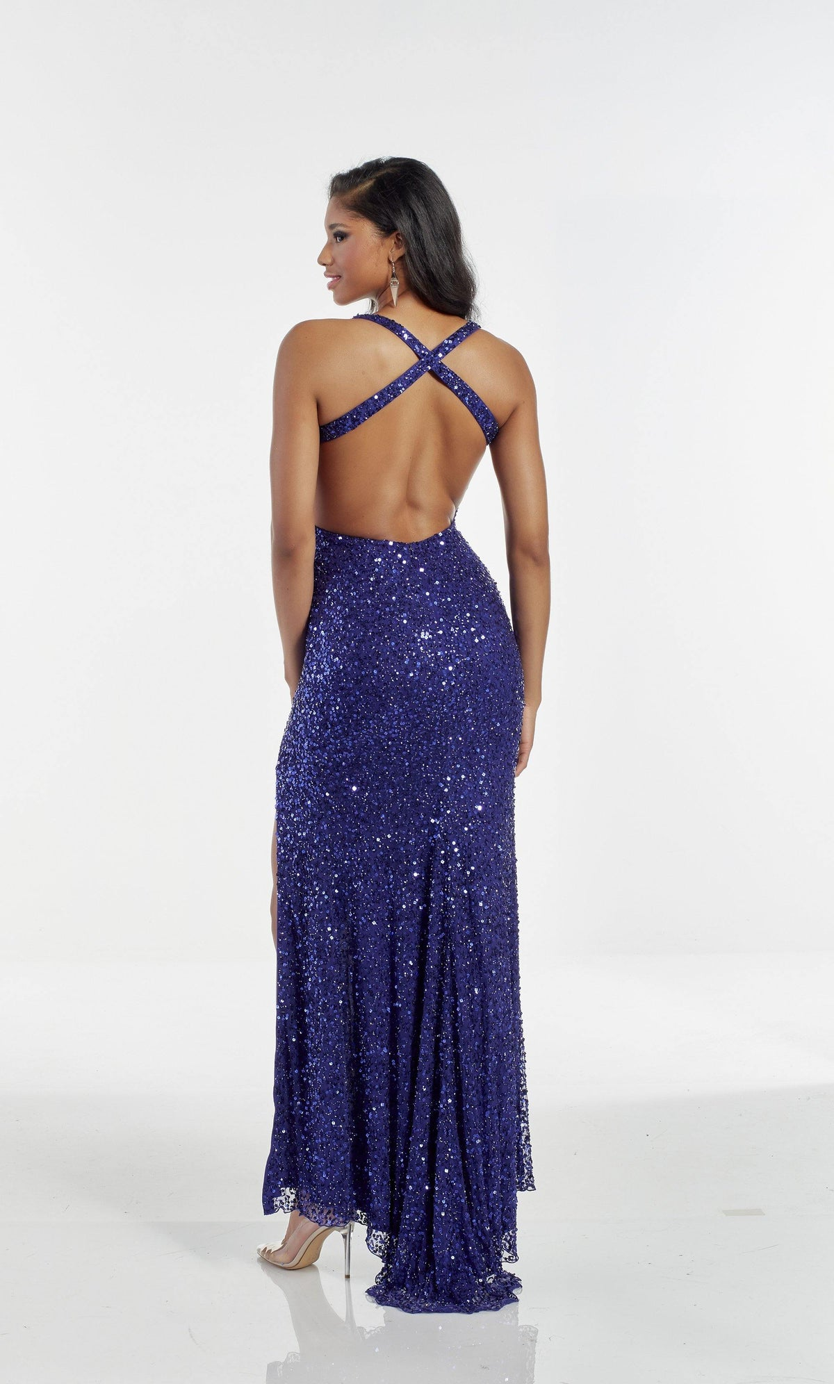 Cobalt Blue hand beaded prom dress with a strappy back and train