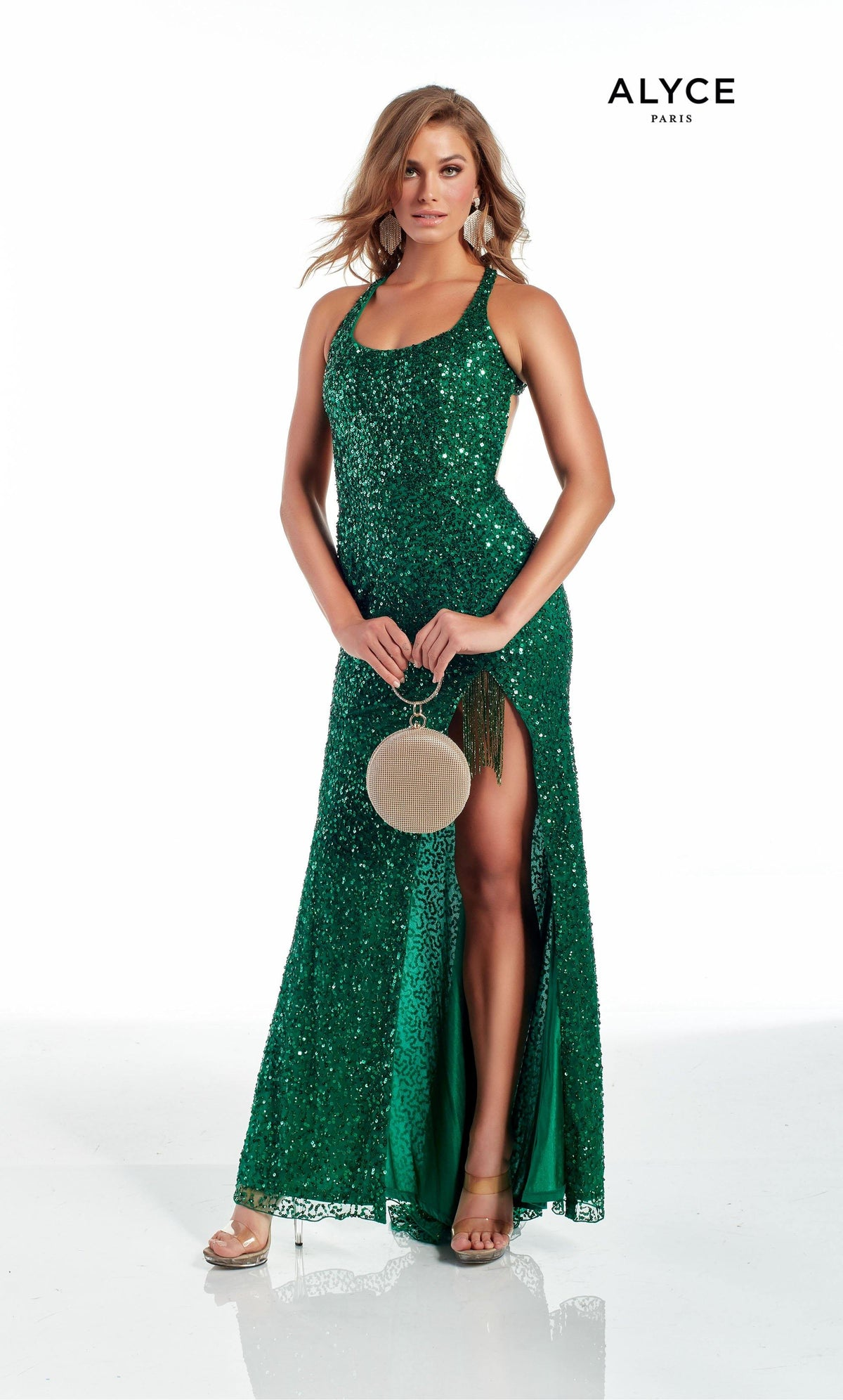 Emerald Green hand beaded prom dress with a scoop neck, high slit, and beaded fringe accent