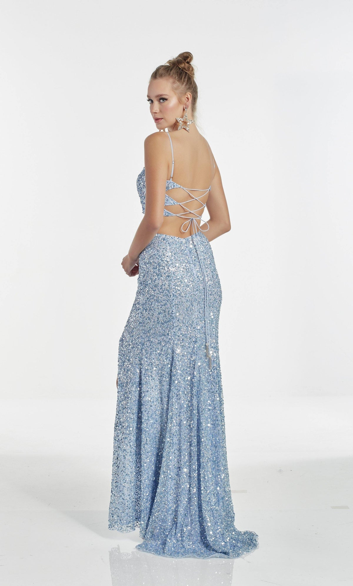 Fully beaded Light Periwinkle two piece pageant dress with a strappy back and train