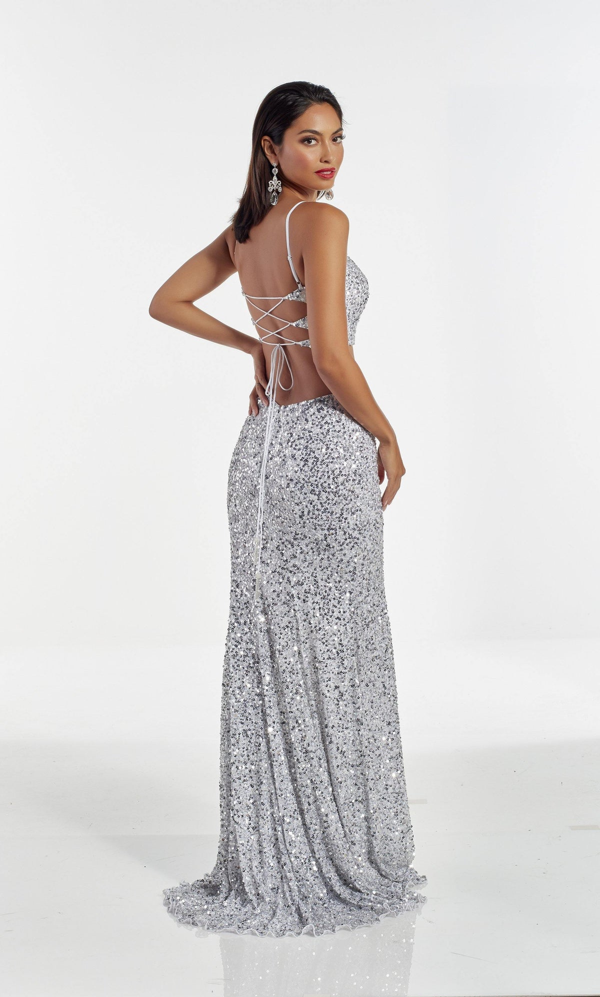 Fully beaded Silver two piece prom dress with a strappy back and train
