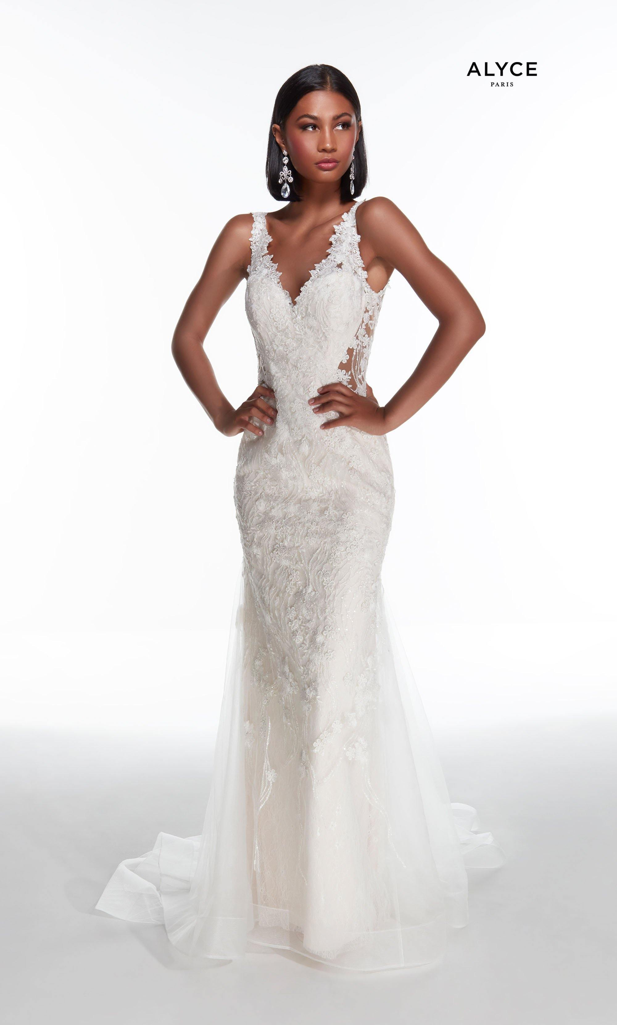 Diamond White - Blush lace wedding dress with a V neckline and illusion side cutouts