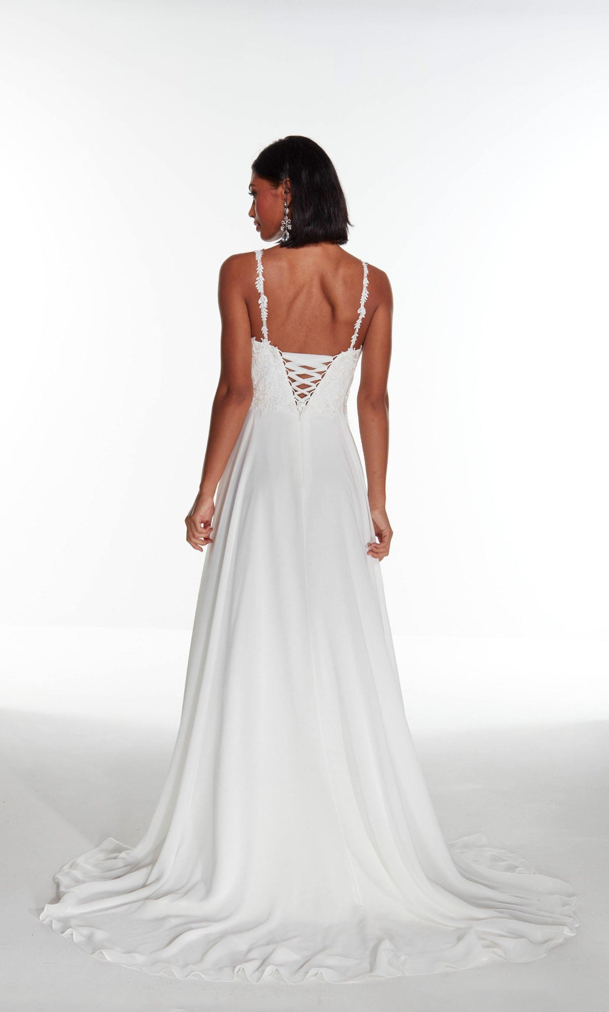 Diamond White flowy chiffon informal bridal gown featuring a lace bodice with a lace up back and train