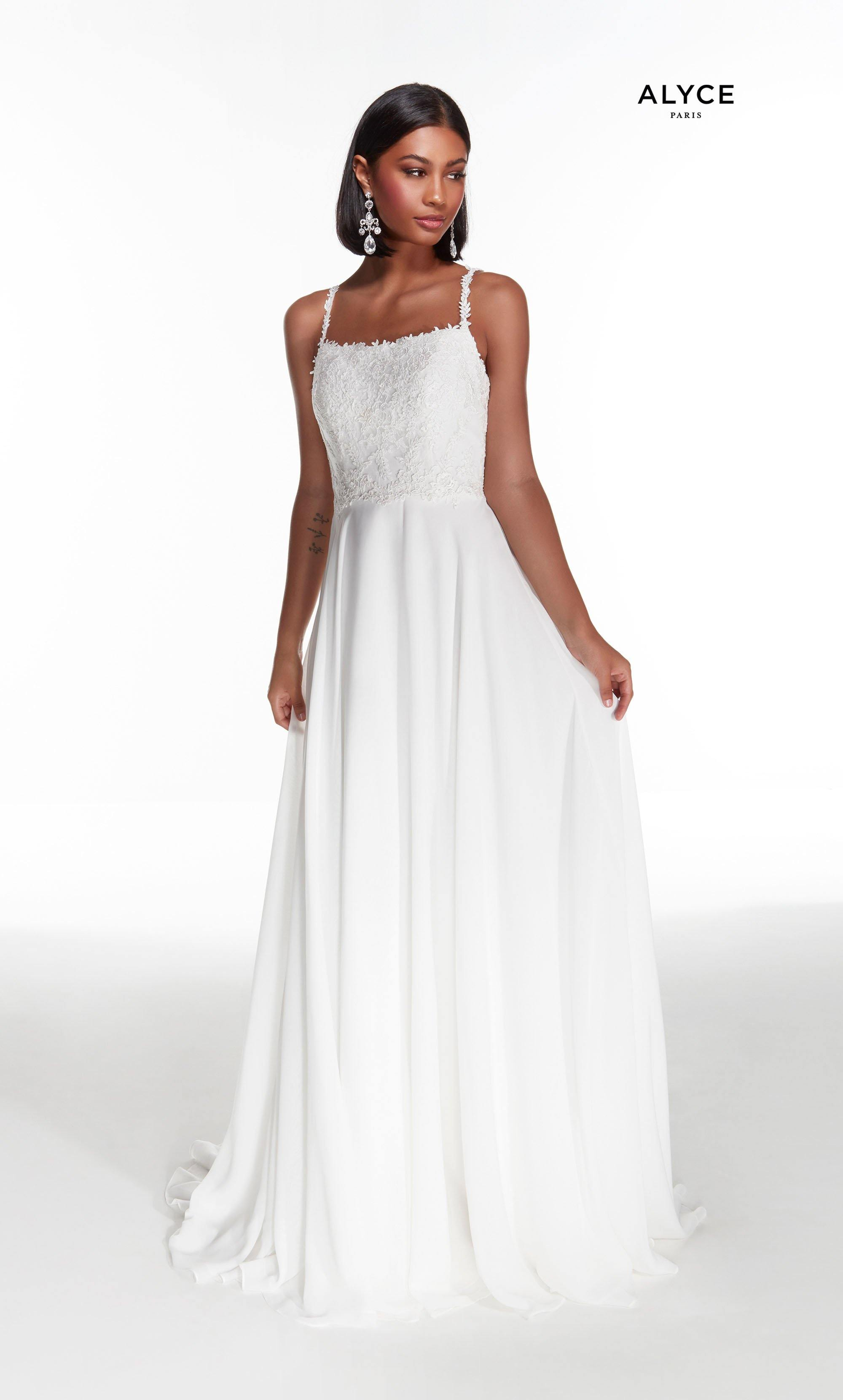 Diamond White flowy chiffon informal bridal gown featuring a lace bodice with a square neckline