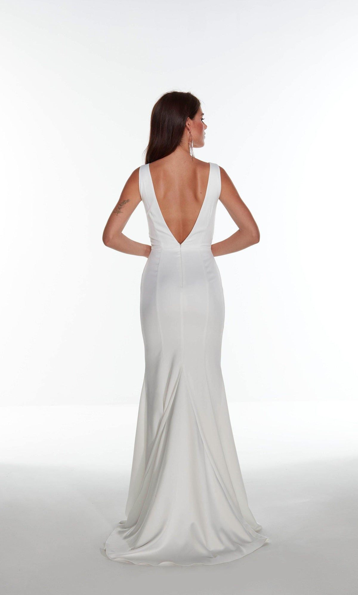 Diamond White satin informal bridal gown with a V shaped back pictured without the detachable overskirt