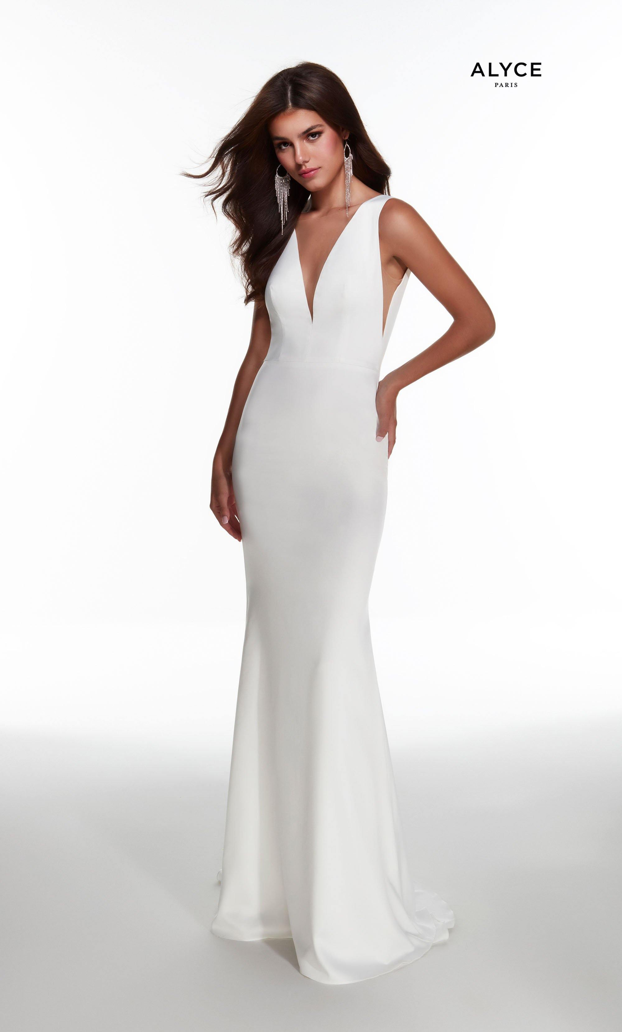 Diamond White satin informal bridal gown with a V neckline and detachable, layered overskirt with jewel accented waist