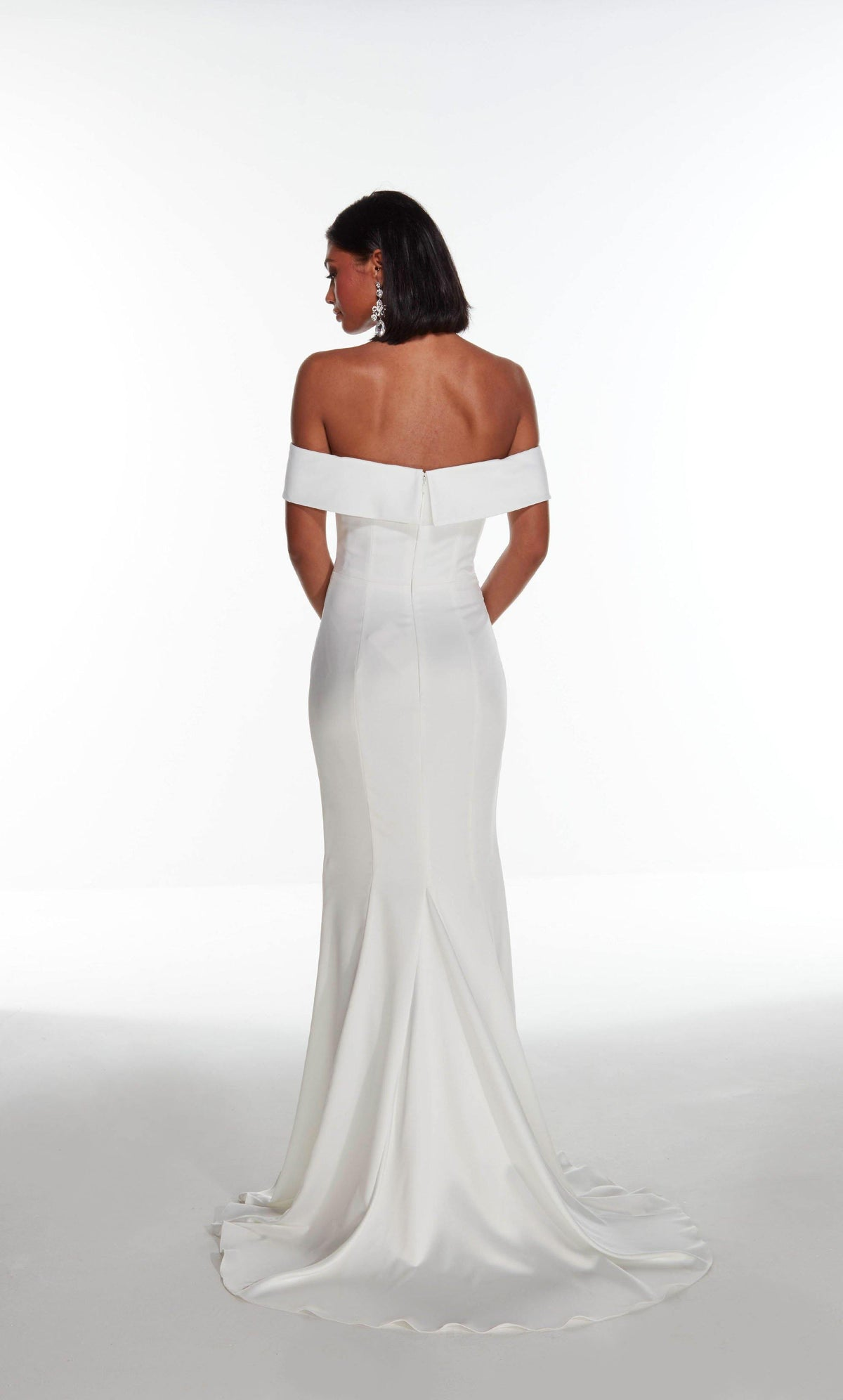 Diamond White off the shoulder satin wedding dress with an enclosed back, pictured here without the detachable overskirt