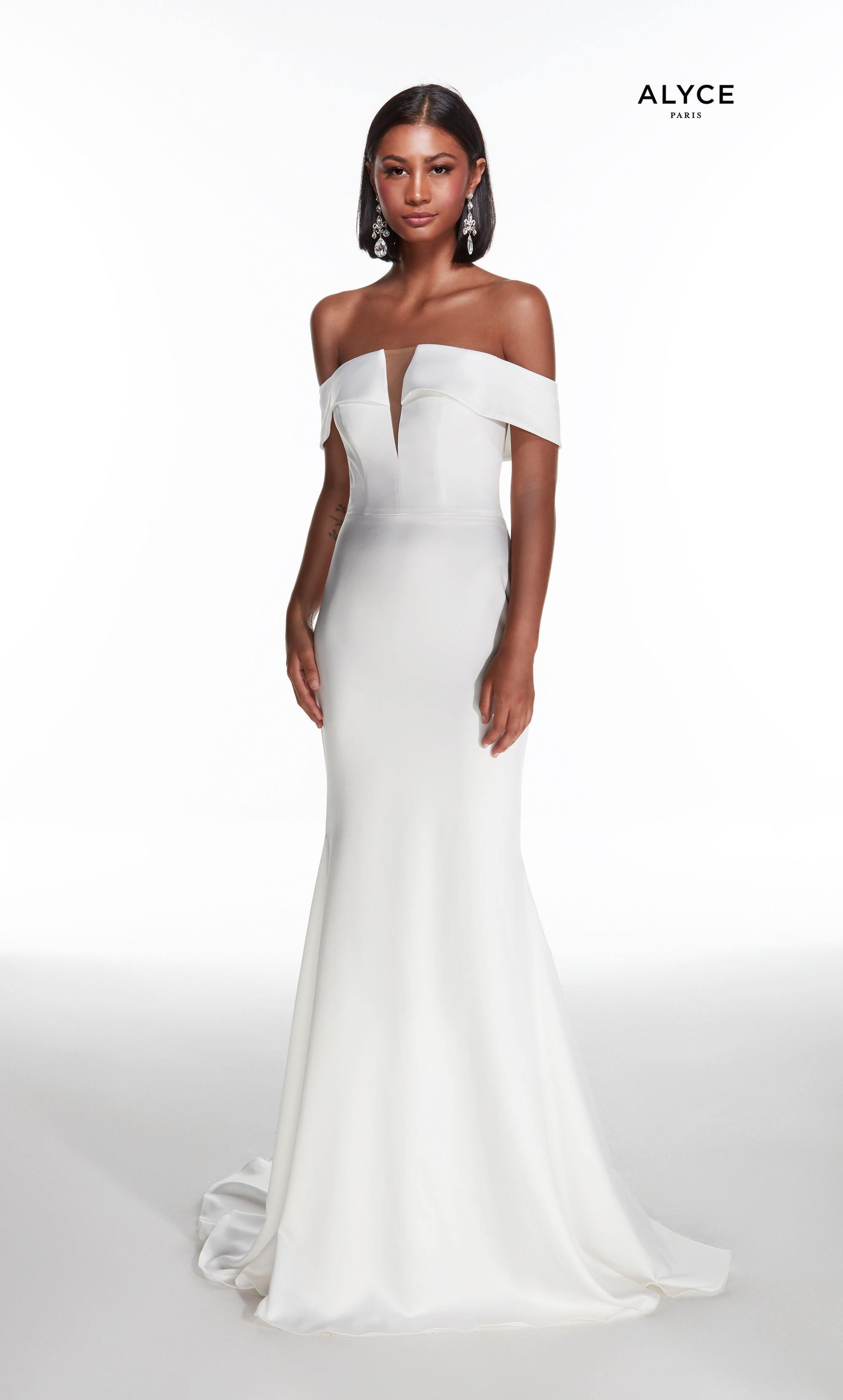 Diamond White off the shoulder satin wedding dress with a detachable layered overskirt with jewel accented waist