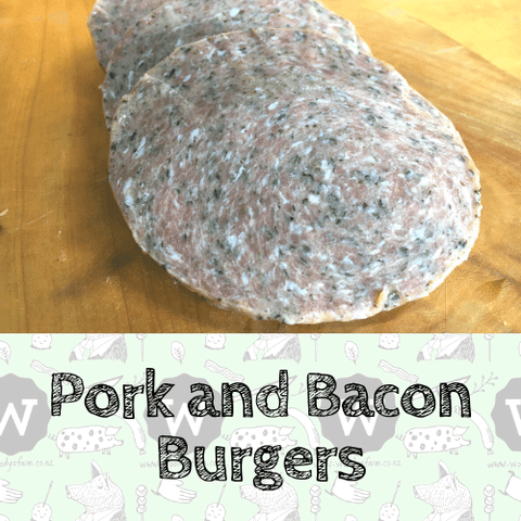 Pork and Bacon Burger, Pork Cuts - Woody's Free Range Farm