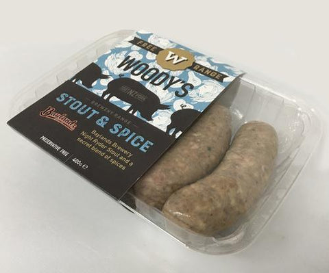 Stout and Spice Sausage (not GF), Pork Cuts - Woody's Free Range Farm