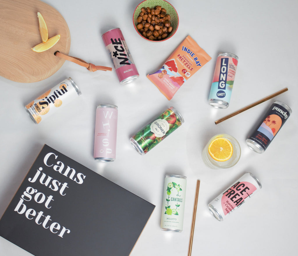 Canned Club November subscription box featuring Sipful, Whisp, Ace + Freak, Nice, Canned Wine Co, Cantails, Long Shot, Punchy and Indie Bay Snacks