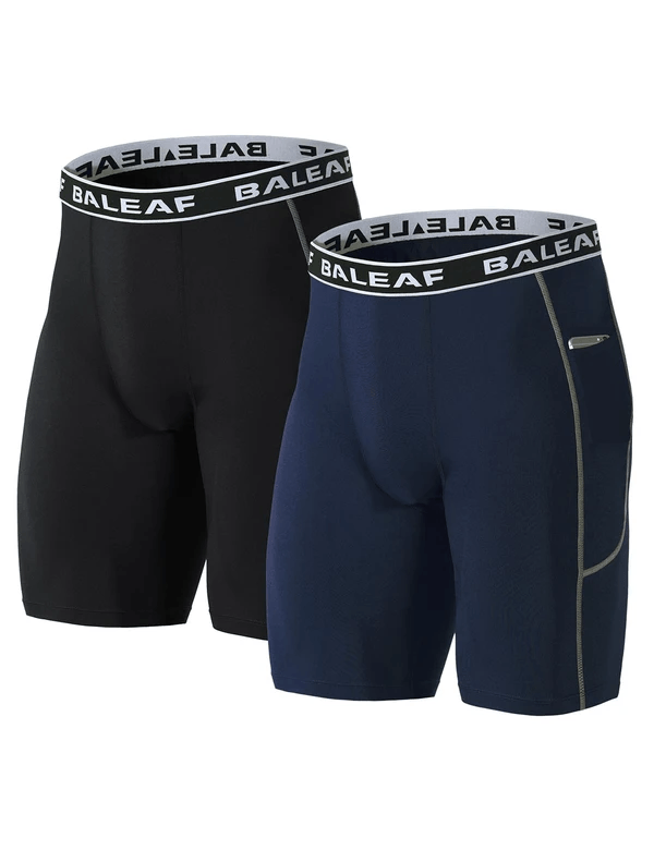 "(2 Pack) 9"" Side-Pocketed Long Compression Shorts Clothing Lightones"