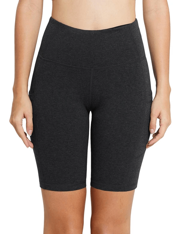 "8"" HIGH RISE SIDE POCKETED YOGA SHORTS Clothing Lightones Charcoal XS"