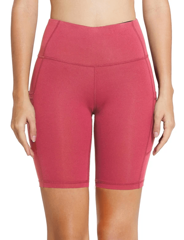"8"" HIGH RISE SIDE POCKETED YOGA SHORTS Clothing Lightones Coral XS"
