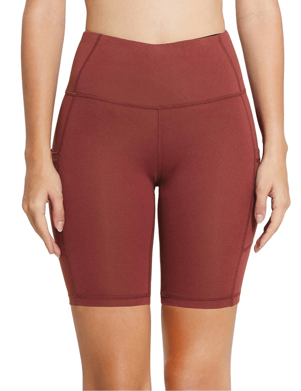 "8"" HIGH RISE SIDE POCKETED YOGA SHORTS Clothing Lightones Light Wine Red XS"