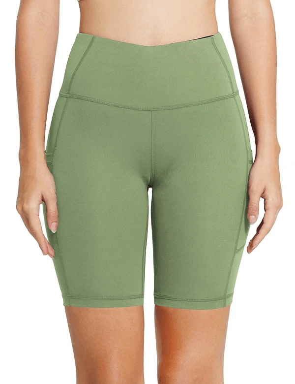 "8"" HIGH RISE SIDE POCKETED YOGA SHORTS Clothing Lightones Olive Green XS"
