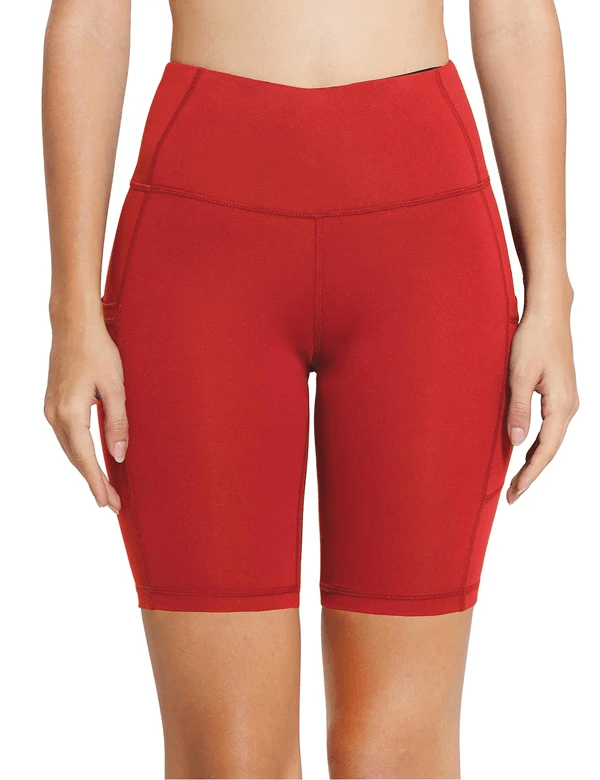 "8"" HIGH RISE SIDE POCKETED YOGA SHORTS Clothing Lightones Rose Red XS"