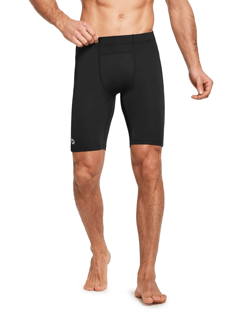 "9"" Compression Pocketed Workout Baselayer Shorts Clothing Lightones Black XS"