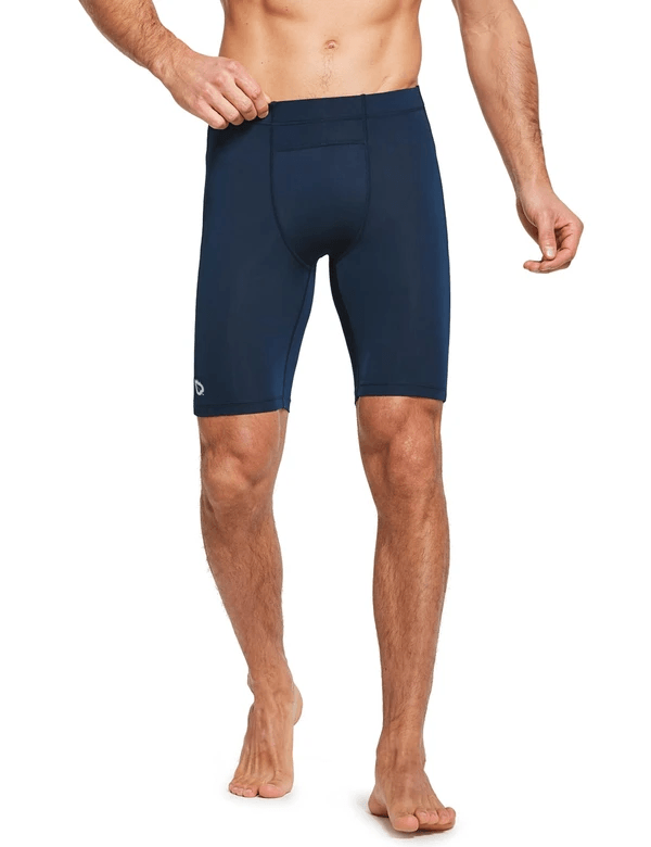 "9"" Compression Pocketed Workout Baselayer Shorts Clothing Lightones Dark Blue XS"