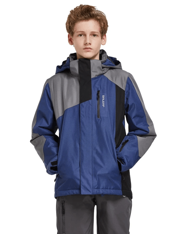 boy's hooded offset design ski- & snowboard winter coat age group kids Clothing baleaf Dark Blue XS