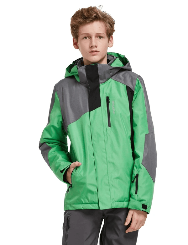 boy's hooded offset design ski- & snowboard winter coat age group kids Clothing baleaf Green XS