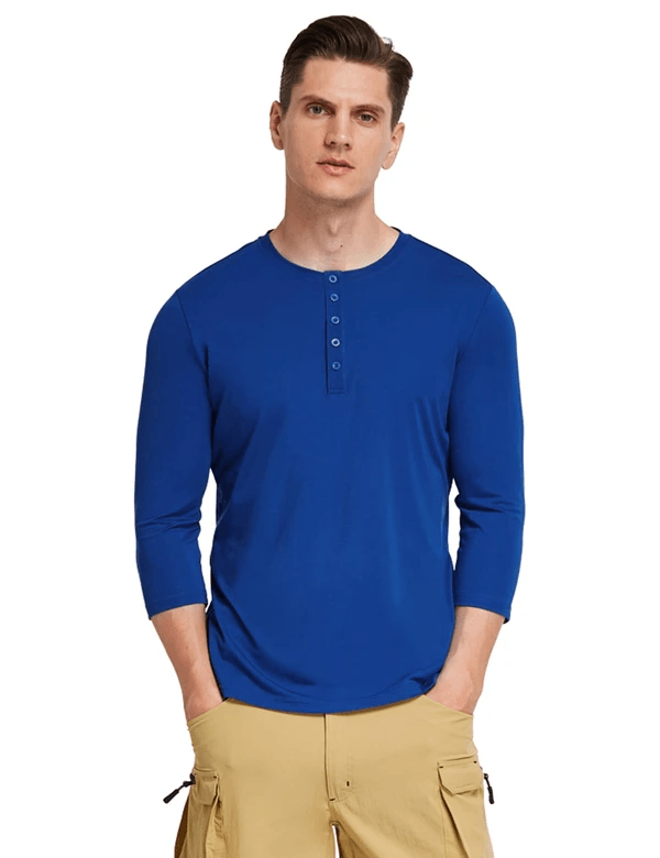 Crew Neck Slim Fit Quick Dry Pocketed 3/4 Sleeve Workout Henley Shirt Clothing Lightones Blue S