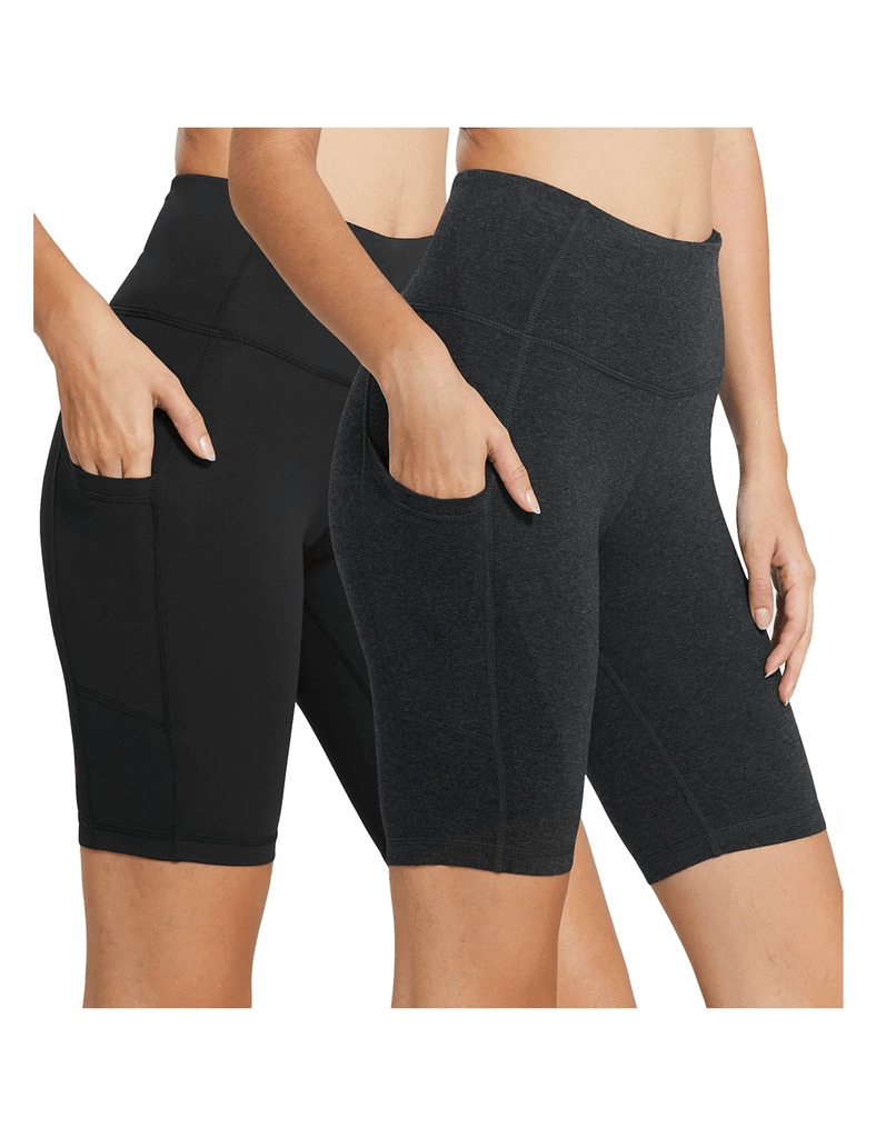 female (2 pack) 8'' high rise side pocketed yoga shorts age group adult Clothing baleaf 2-Pack Black/Charcoal XS