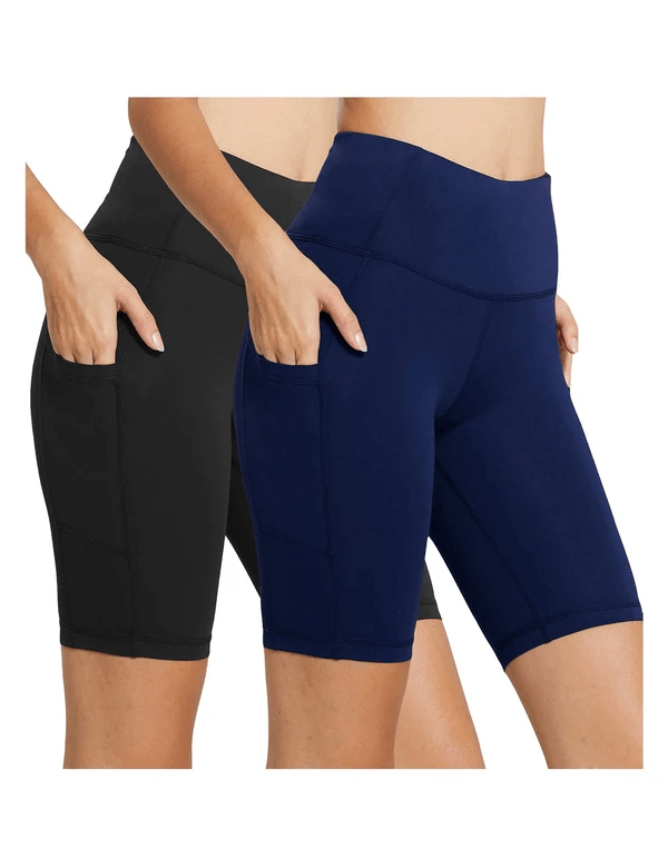 female (2 pack) 8'' high rise side pocketed yoga shorts age group adult Clothing baleaf 2-Pack Black/Navy Blue XS