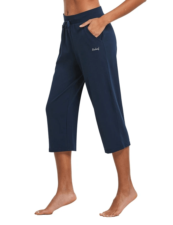 "female 20"" open leg lightweight yoga lounge pocketed 3/4 sweat pants age group adult Clothing baleaf"