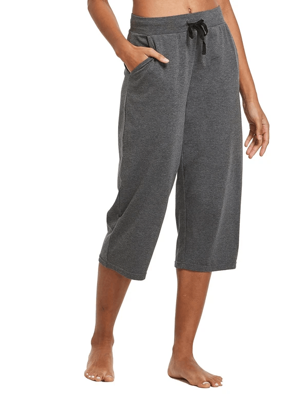 "female 20"" open leg lightweight yoga lounge pocketed 3/4 sweat pants age group adult Clothing baleaf Charcoal XS"