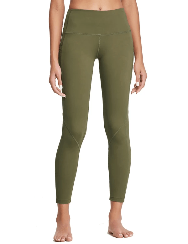 "female 25"" high rise tummy control pocketed leggings age group adult Clothing baleaf Deep Olive S"
