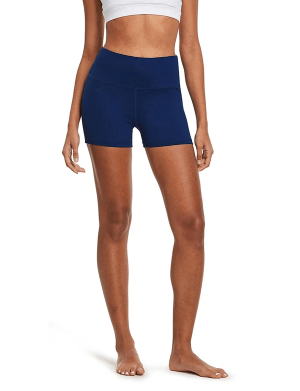 "female 3"" high-rise seamless compression workout & yoga shorts age group adult Clothing baleaf Navy XS"