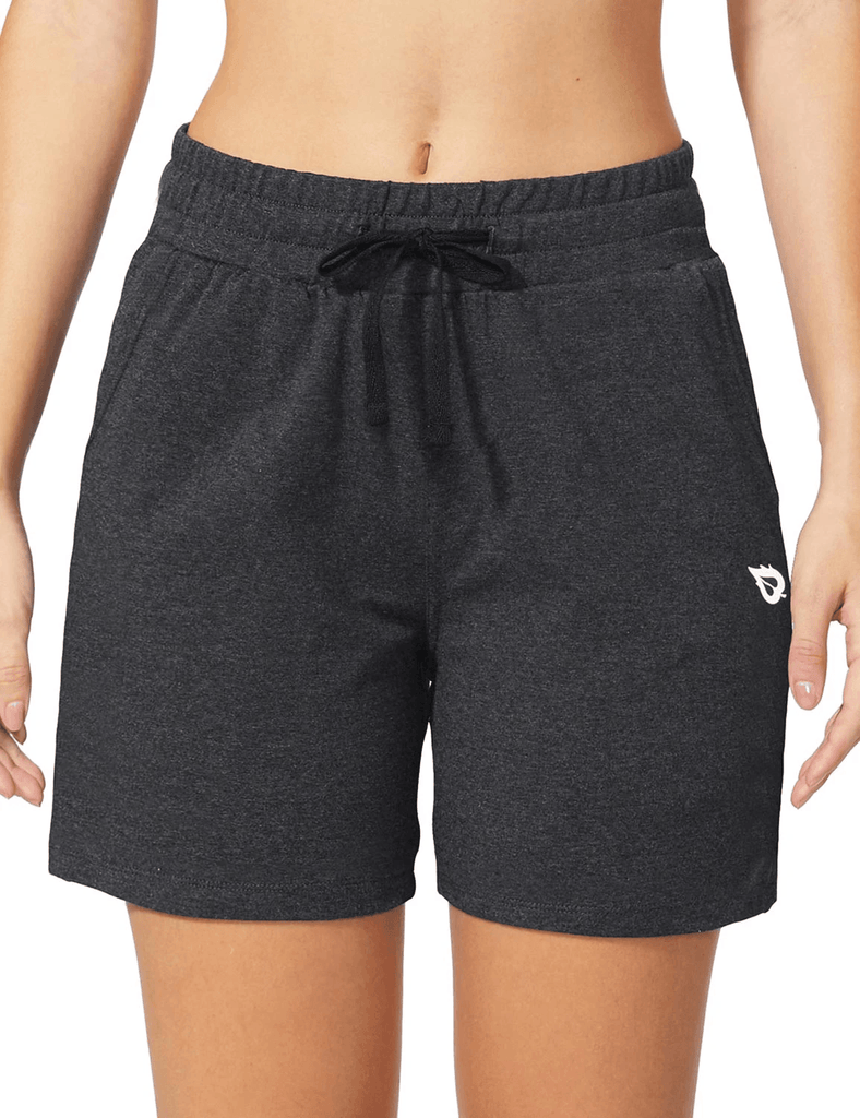 female 5'' activewear cotton pocketed jogger & weekend shorts age group adult Clothing baleaf Charcoal XS