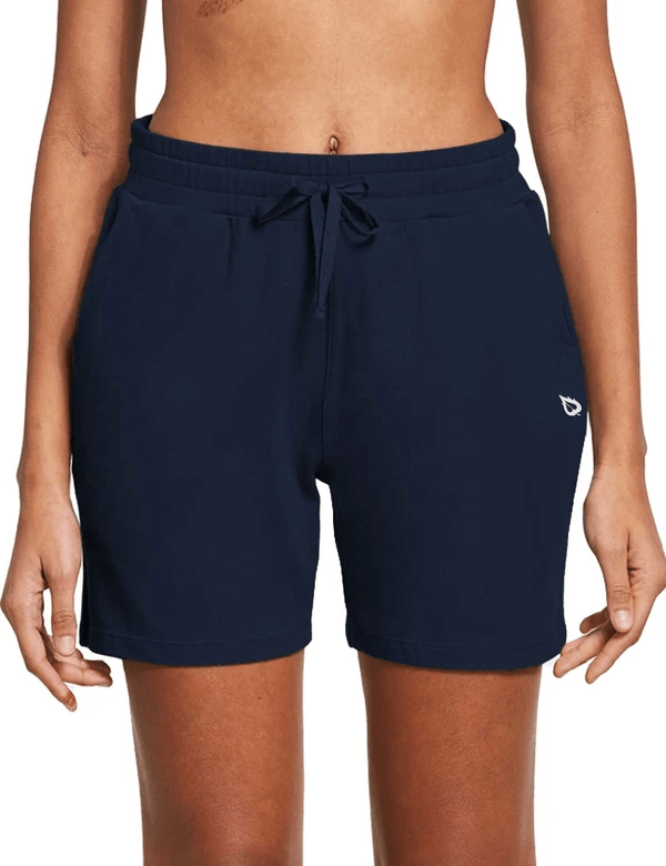 female 5'' activewear cotton pocketed jogger & weekend shorts age group adult Clothing baleaf Navy Blue XS