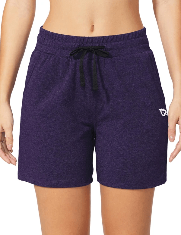 female 5'' activewear cotton pocketed jogger & weekend shorts age group adult Clothing baleaf Purple Heather XS